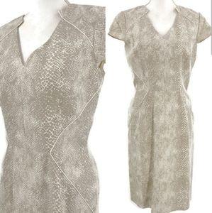 Antonio Melani Sheath Dress 6 Tan Snakeskin Career